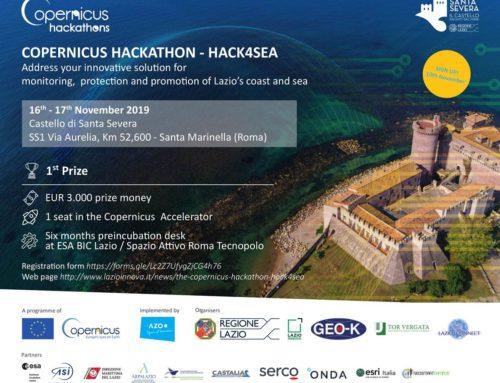 HACK4SEA, l'Hackathon di Copernicus sbarca a Santa Severa il 16 e 17 Novembre